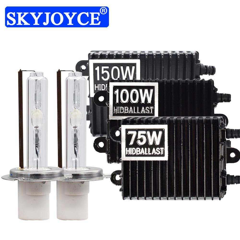 SKYJOYCE Fast Bright Ceramic HID Xenon Bulb Kit 75W 100W 150W Xenon Ballast H1 H3 H7