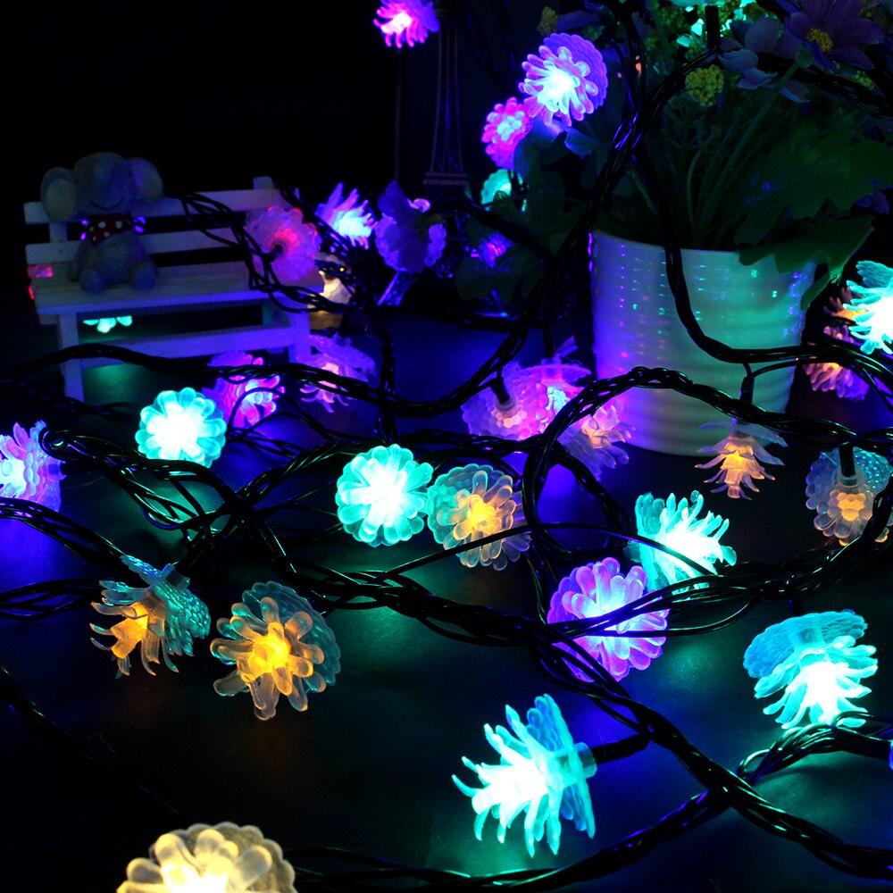 NEW 1pcs cute pine tree lights 110V/220V 10m 80leds Black wires LED string light wedding lamp ...