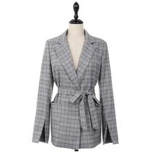 Korean Fashion Checked Plaid Blazer Women Office Lady Elegant Blazer Mujer Autumn 2018 Women Blazers And Jackets With Belt