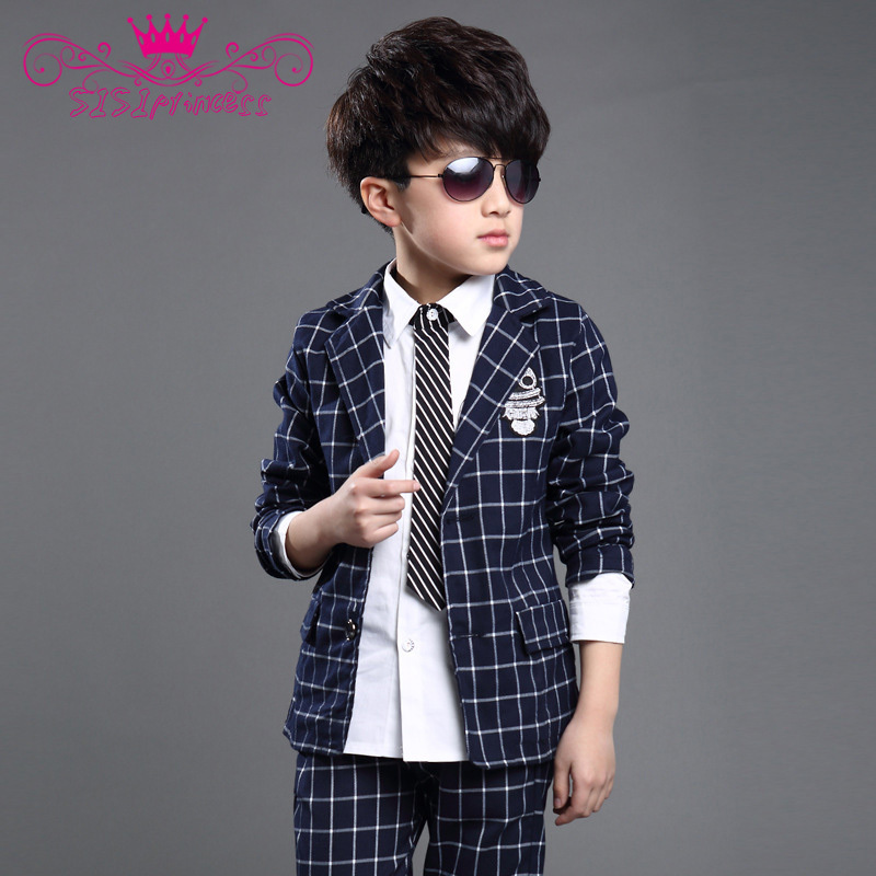 6--16 Years Old Summer Style 2015 Boys Kids Clothes Family Clothing Patchwork Plaid Suit Formal For Party Clothing Set 70