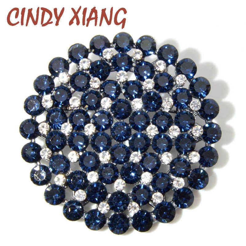 CINDY XIANG 4 สีเลือก Rhinestone ขนาดใหญ่รอบดอกไม้เข็มกลัดสำหรับผู้หญิงแฟชั่นคู่ชั้นสไตล์ PIN คุณภาพสูง