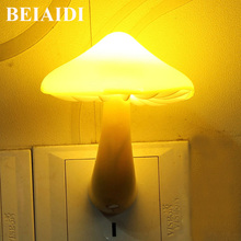 "BEIAIDI חם צהוב פטריות Led לילה אור חיישן נשלט שליד המיטה שולחן מנורת עבור תינוק שינה האיחוד האירופי ארה""ב תקע קיר שקע אור"