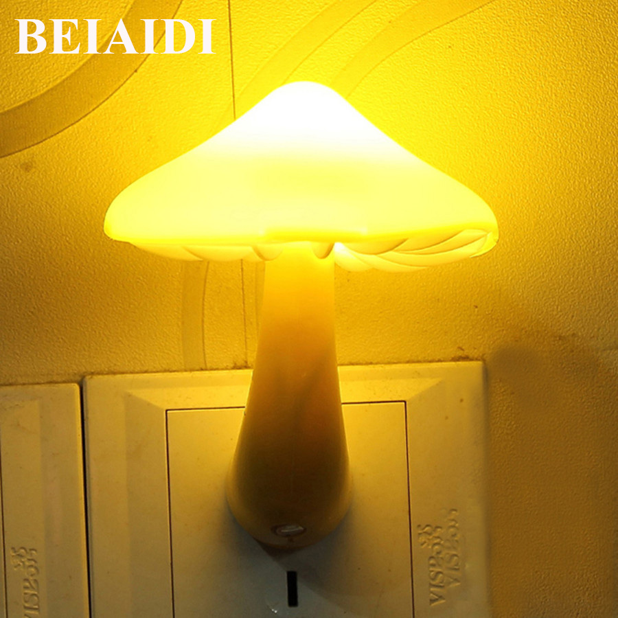 BEIAIDI Warm Yellow Mushroom Led Night Light Sensor-controlled Bedside Table Lamp For Baby Bedroom EU US Plug Wall Socket Light