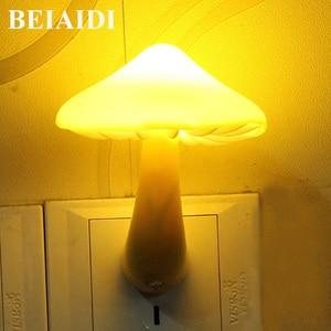 Image 1 - Beiaidi 따뜻한 노란색 버섯 led 밤 빛 센서 제어 침대 옆 테이블 램프 아기 침실 eu 미국 플러그 벽 소켓 빛