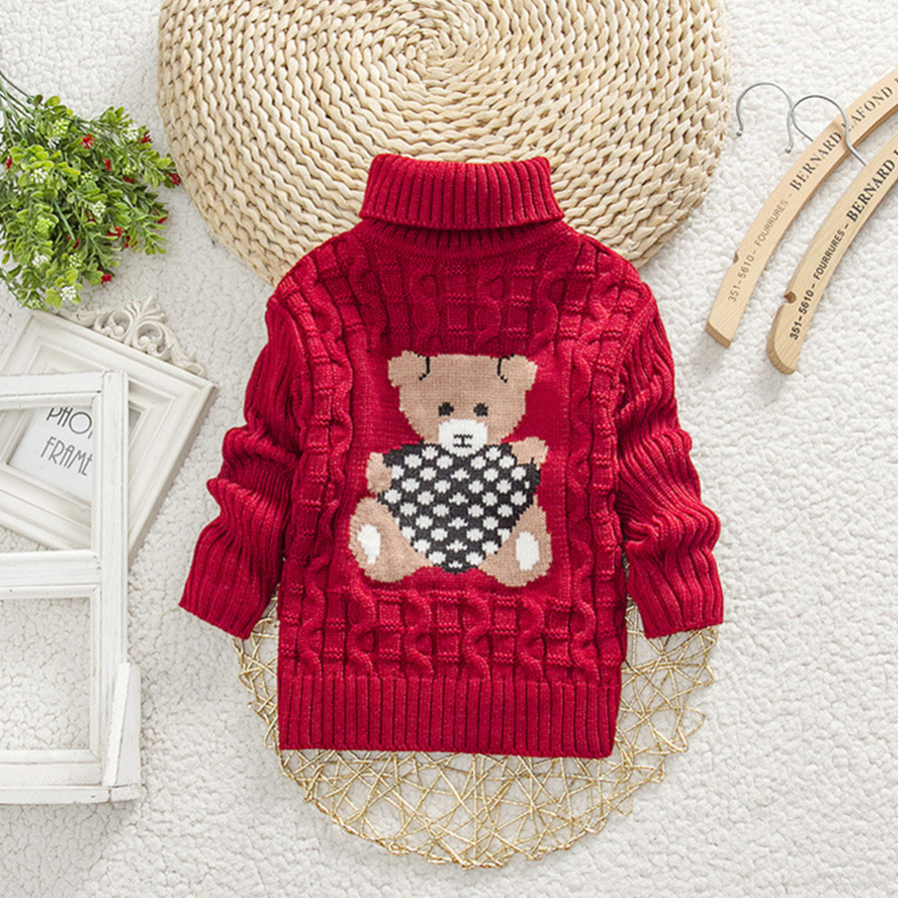 Hot New Baby Girls Sweater Bear Children Kids Knitted Crochet Winter ...