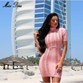 2016 New women summer dress Short Sleeve sexy Mesh Bandage Dress bodycon Pink party dress celebrity women vestidos wholesale
