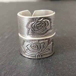 Image 3 - Bastiee peônia flor 999 prata esterlina casal anéis de noivado feminino anel de casamento do vintage jóias de luxo étnica moda