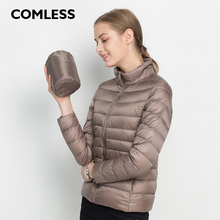 COMLESS New Arrival 22 Colors Women Fashion Ultralight Down Jacket with 90% Down 10%Feather White Down Stand Collar Jacket XXXL