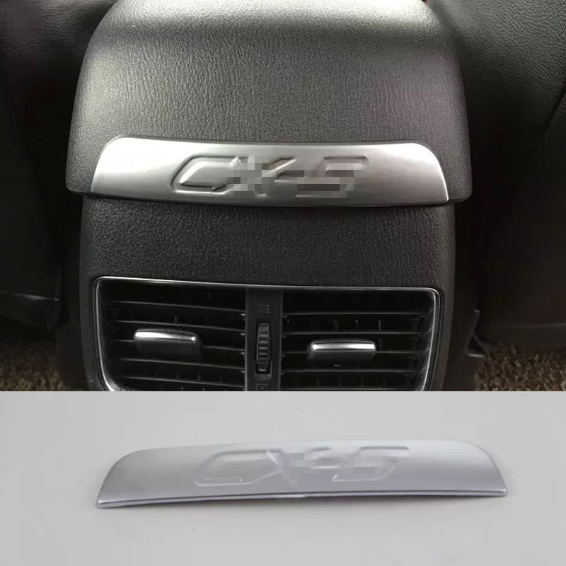New Interior Chrome Armrest Box Rear Air Condition Vent Cover Trim Air Outlet Decorative For Mazda CX-5 CX5 2015 2016 Accessory