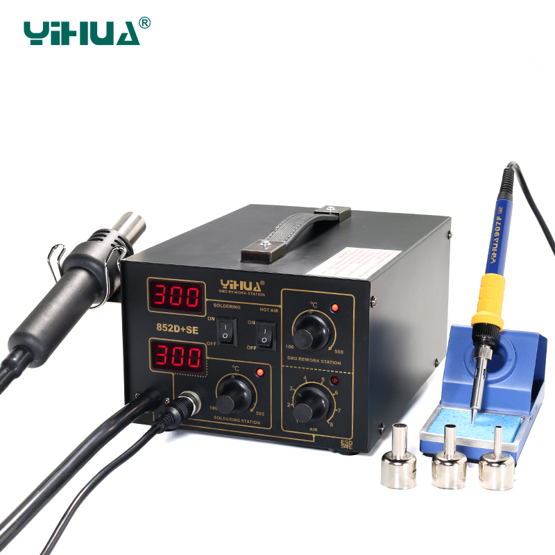 EU Plug YIHUA 852D+SE Diaphragm Pump Soldering Station Hot Air Imported Heater Soldering Station 220v 50w yihua 937 soldering station with extra free hakko a1321 ceramic heater