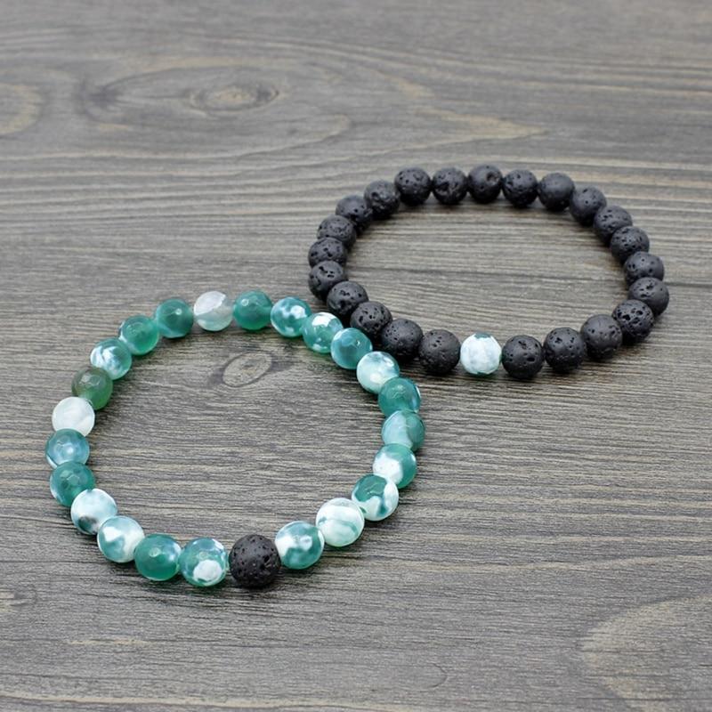 Set of 2 pairs of relationship lovers bracelet set Lava beads stone bracelet women men fashion jewelry gift for him bracelet