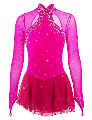 Red Figure Skating Dress Long-Sleeved Ice Skating Skirt Spandex Women's  Girl's Ice Skating Dress