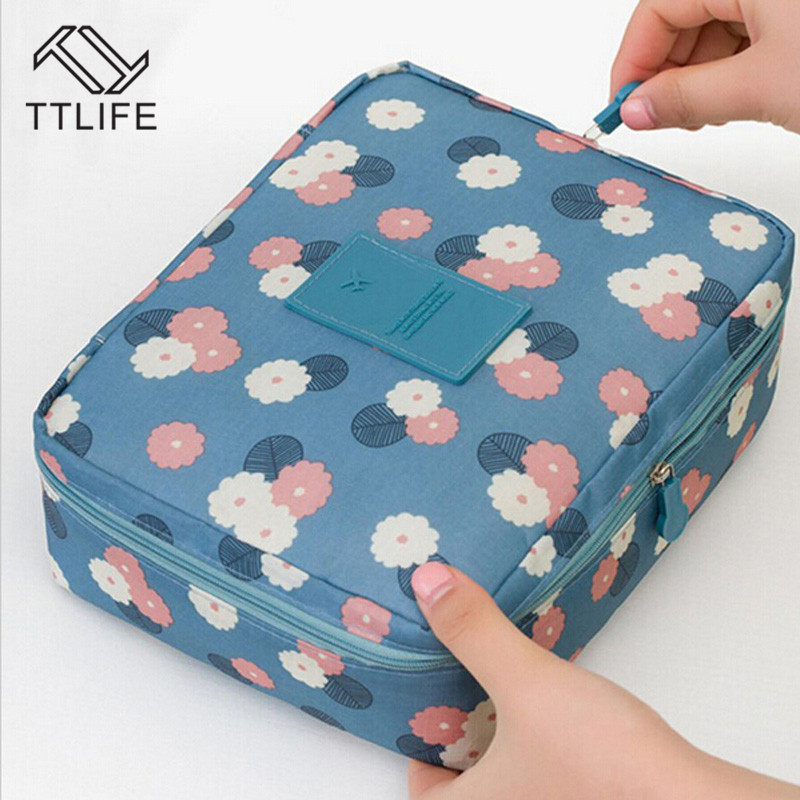 TTLIFE Flower Oxford Cloth Cosmetic Bag Makeup Case Women Wash Toiletry Zipper Organizer Storage Travel Kit Bag Multi Pocket Bag in Storage Bags from Home Garden
