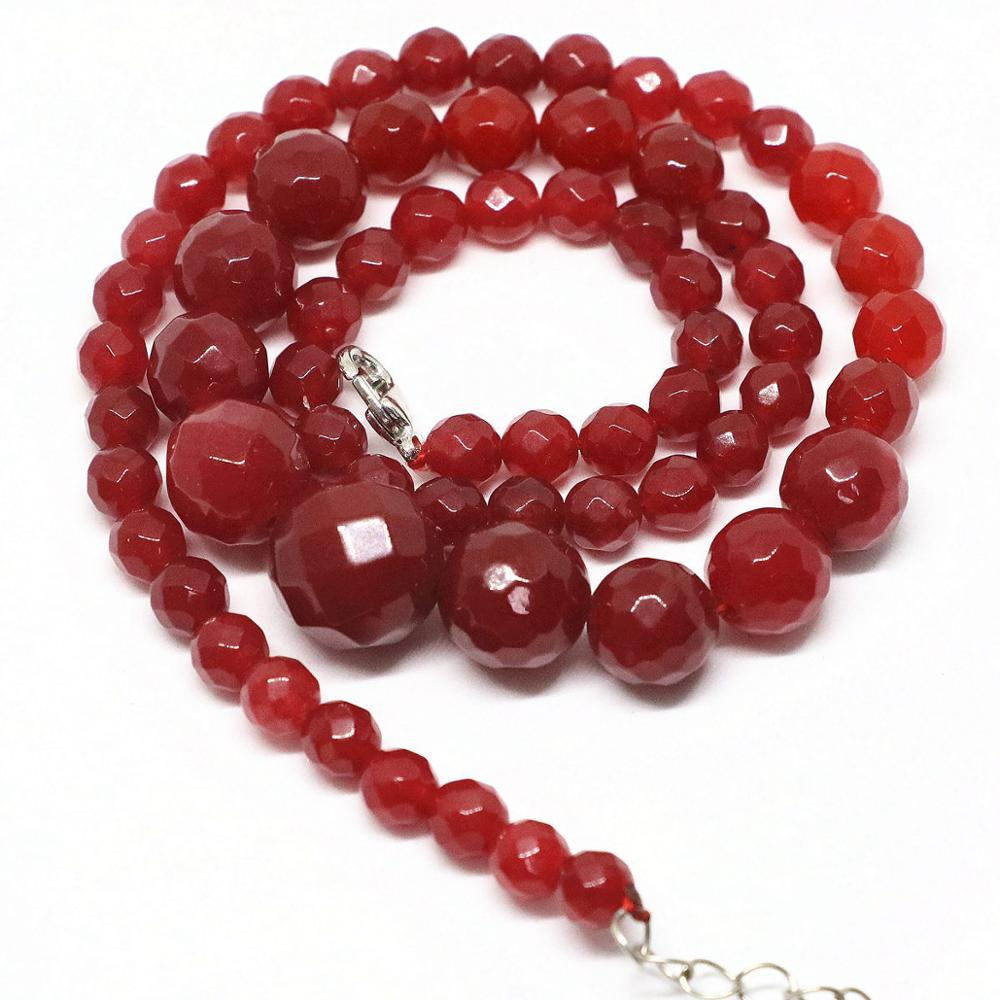"NOUVEAU 10 mm Faceted Red Ruby Round Gemstone Collier 18/"" AA"