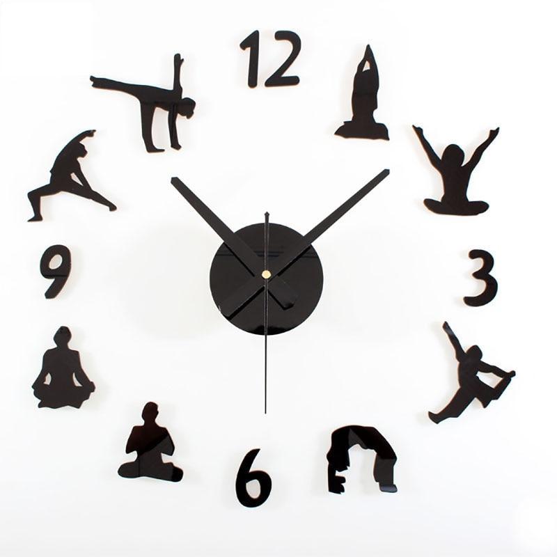 2017 Hot Creative Yoga Diy Wall Clock Acrylic Or Wood