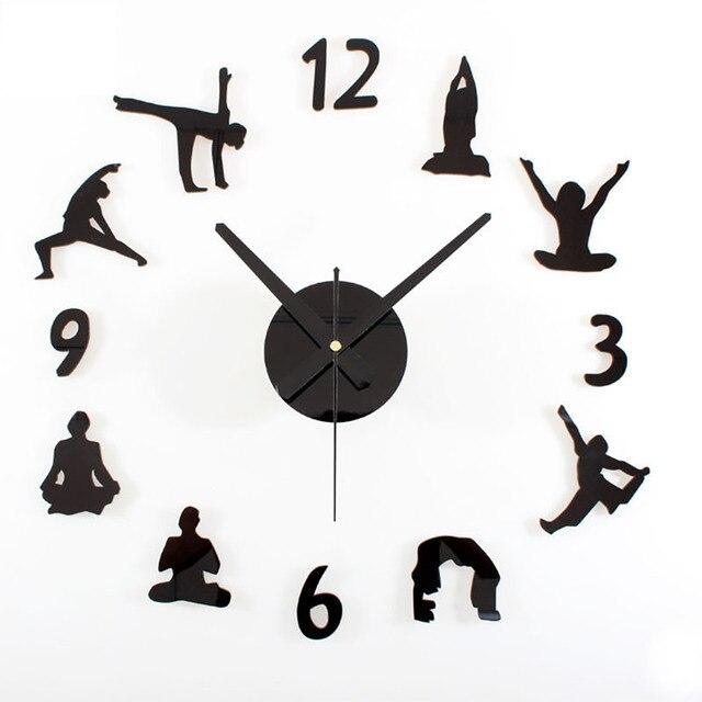 2017 Panas Kreatif Yoga DIY Jam Dinding Akrilik atau Bahan Kayu Jam Dinding  Bisu Menyapu Gerakan e5595b2e0e