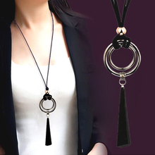 SINLEERY Vintage Gothic Black Suede Leather Long Rope Necklace for Women Big Alloy Round Pendant Necklace Jewelry MY444 SSI