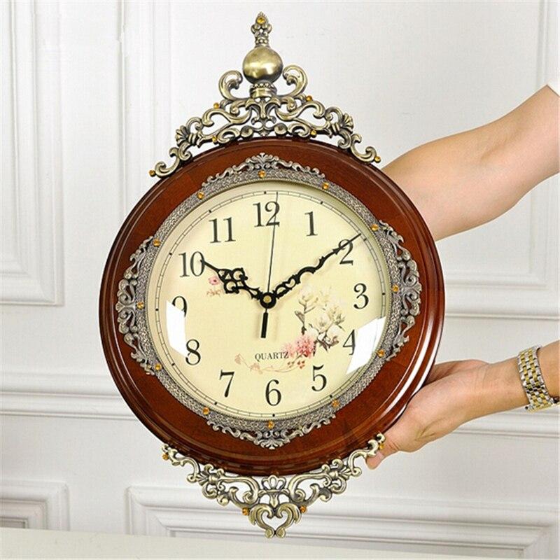 Elegante Antieke Muur Houten Klok Mode Poendant Retro Europese Grote Quartz Pendule Horloge Huwelijksgeschenken Woondecoratie-in Wandklokken van Huis & Tuin op  Groep 1