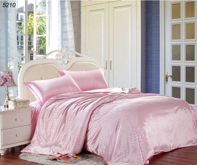 Very satin raye bedding sets pink Satin strip bedding satin stripe bed  YA27