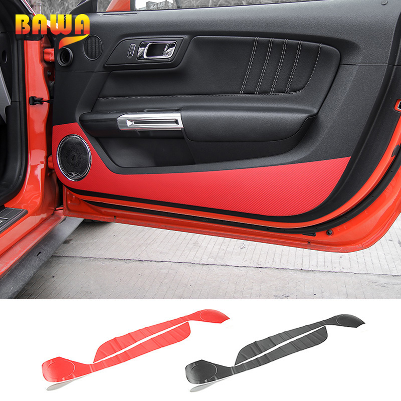 Pair Carbon Fiber Door Air Outlet Vent Sticker Trim For Ford Mustang 2015-2018