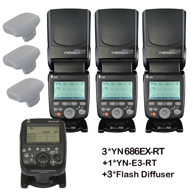 3pcs YONGNUO YN686EX-RT Auto TTL HSS Flash Speedlite +YN-E3-RT Controller for Canon 5DIV 5D3 5D2 7D Mark II 6D 70D 60D 650D marrex mx g10 gps receiver gps unite geotag replace for canon 60d 7d 6d 70d 5d mark ii 5d3 700d 650d etc cameras