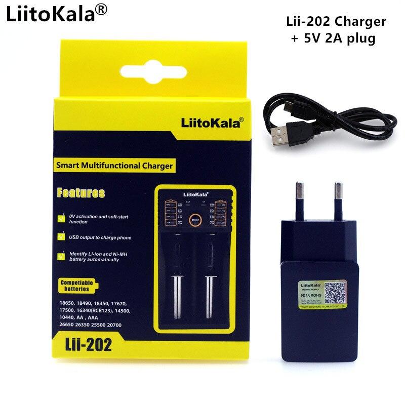 Liitokala Lii402 Lii202 Lii100 18650 Charger 1.2V 3.7V 3.2V AA/AAA 26650 NiMH li-ion 5V 2A Intelligent Charger EU/US/UK Plug