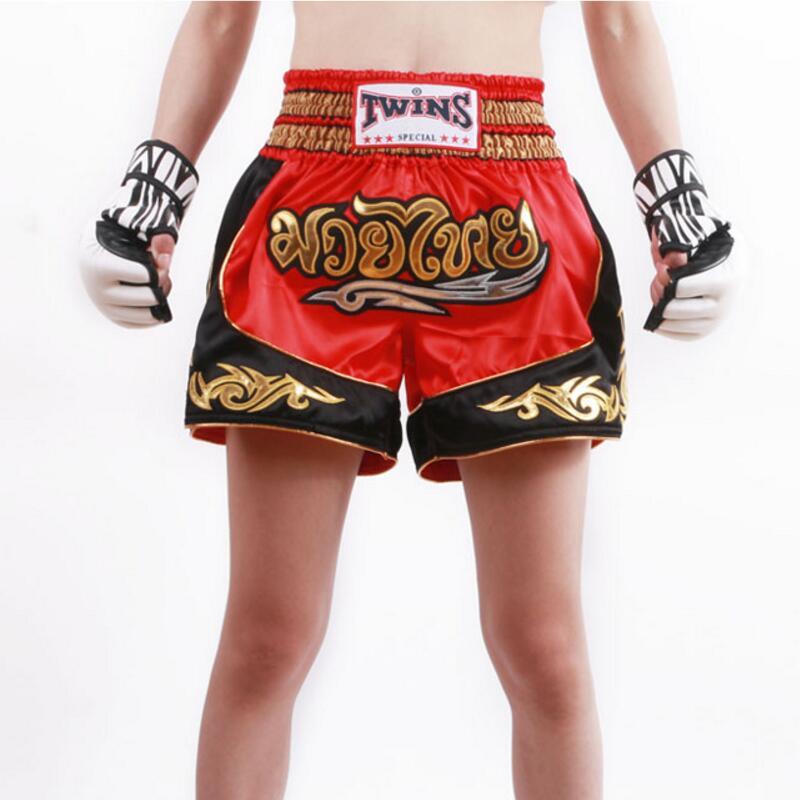 Bordado muay thai boxing shorts muaythai troncos combate abrangente livre sparring mma luta shorts sanda roupas 2018