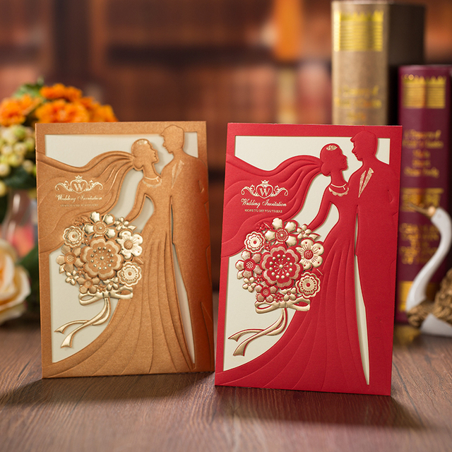 50pcs Red Gold Laser Cut Wedding Invitations Card Bride