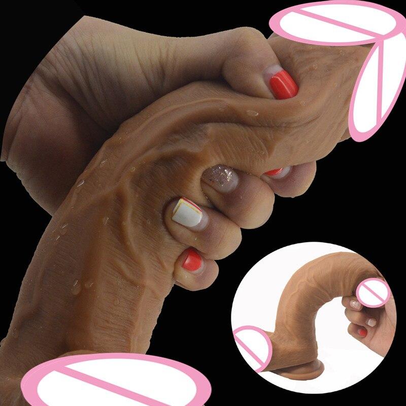 La peau Se Sentir Super Doux Pénis Réaliste Avec Ventouse Grosse Bite Anaux Flexibles Gode Jouets Sexuels Pour Les Femmes de Sexe Masturbateur boutique