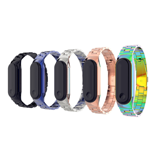 Replacement Strap Stainless Steel Watch Band Adjustable Metal Strap for Xiaomi Mi Band 3 Wristband Bractlet Wrist belt Rose Gold