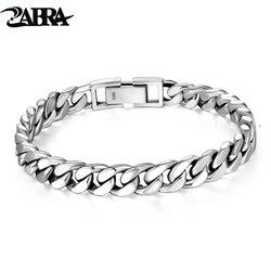 ZABRA Real 925 Sterling Silver Bracelet Mans 8mm Width Link Rock Fashion Chain Bracelets For Man Jewelry Gift