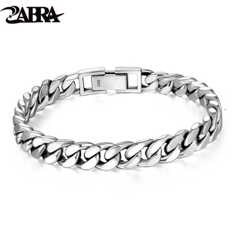 ZABRA Real 925 Sterling Silver Bracelet Mans 8mm Width 18.5 Length Rock Fashion Chain Bracelets For Man Jewelry Gift