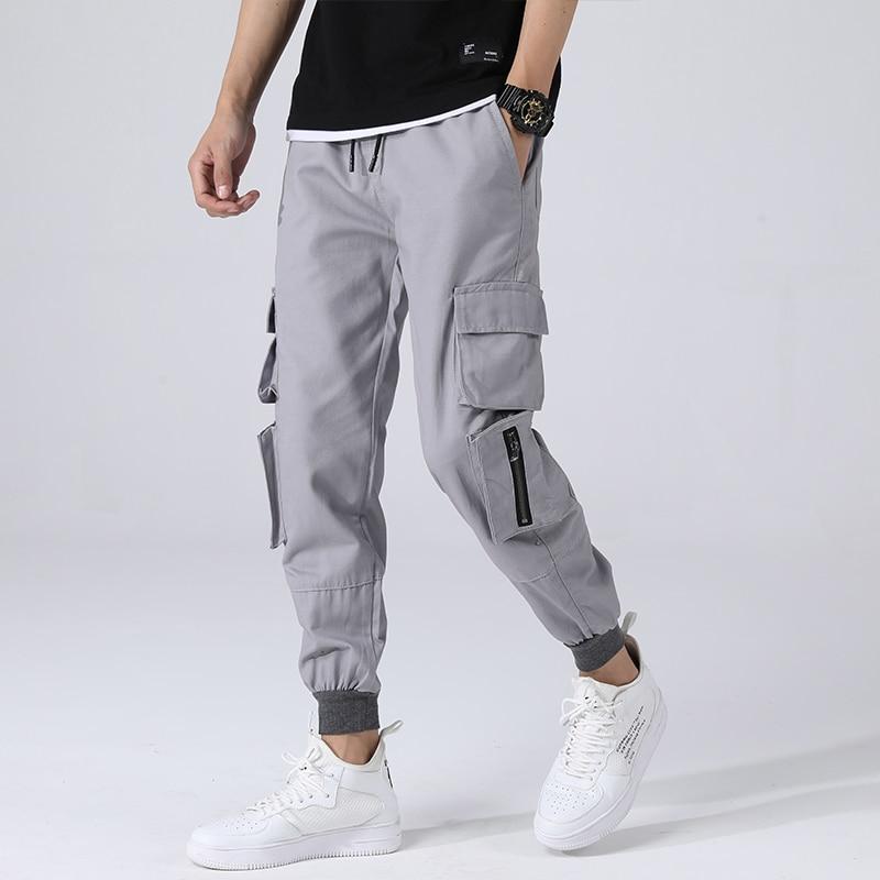 Spring New Tooling Pants Men Fashion Casual Multi-pocket Drawstring Overalls Man Streetwear Hip-hop Loose Joggers Sweatpants(China)