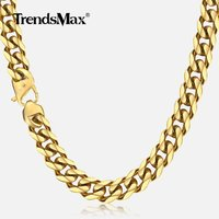 Trendsmax 13mm 316L Stainless Steel Necklace 20 36inch Length Mens Gold Curb Cuban Link Chain Fashion Jewerly HN112