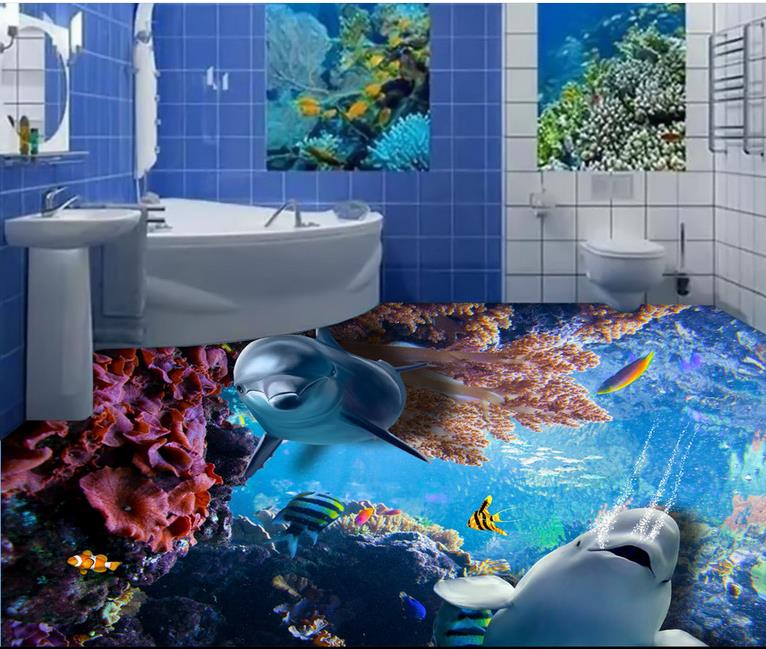 Fashion 3d Floor Tiles Wall papers Home Decor Living Room Dolphin Tropical Fish Coral Photo Wall Murals Inyl Floor Roll цена и фото