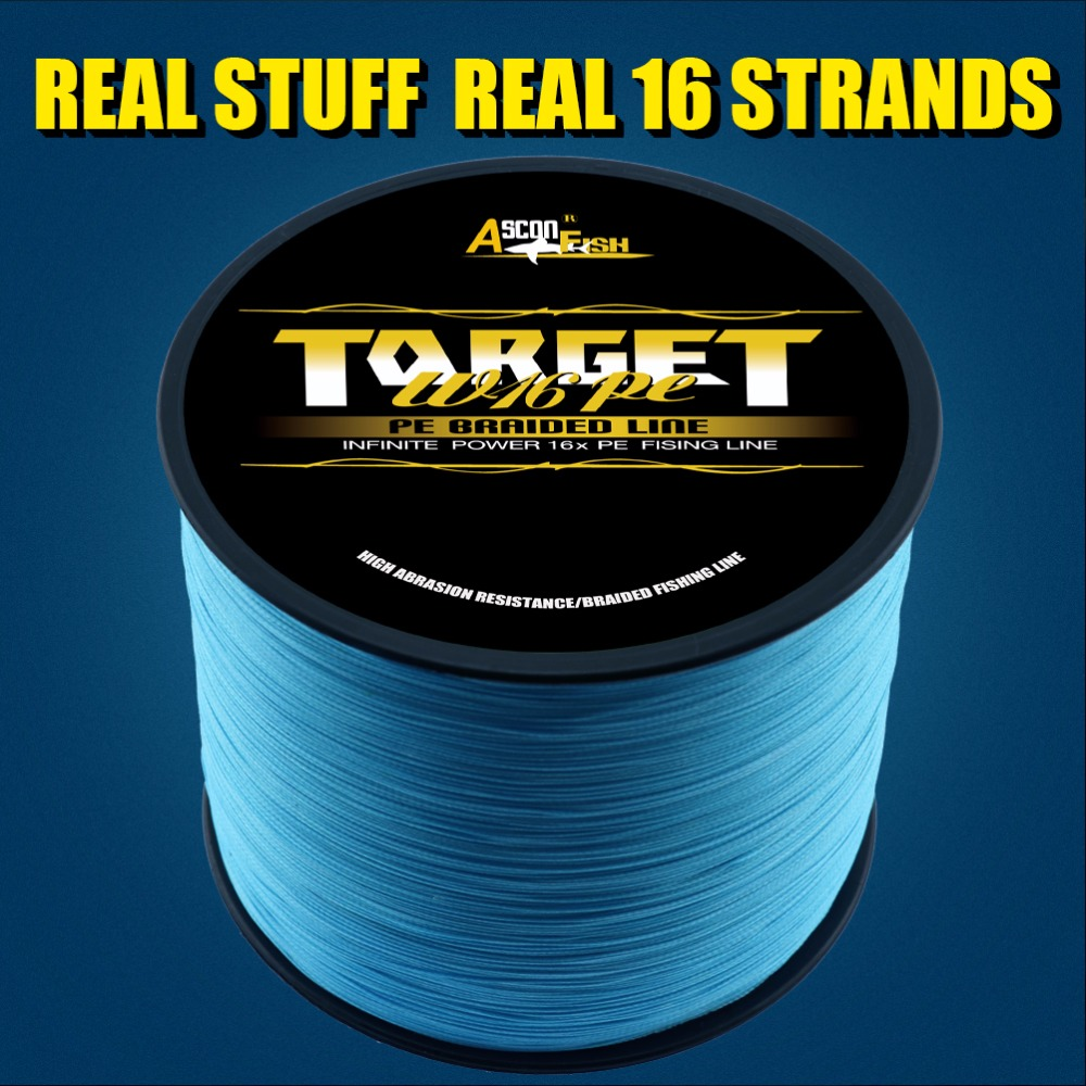 Ascon Fish 16 Strands Braided Fishing Line 1000m Real 16 Braids Full Length Multifilament Fishing Line PE Thread 20-400LB
