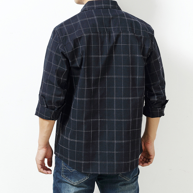 Autumn Plaid Cotton Long-Sleeved Men's Shirt 5
