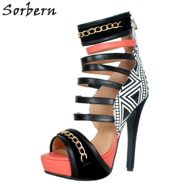 Sorbern Punk Chain Straps Platform High Heel Sandals Summer Womens Celebrity Shoes Rivets Shoes Heels Fashion Platform Shoes