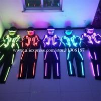 Hurtownie 5 Zestaw LED Robot Kostium LED Scen tańca świetlisty Ubrania Garnitury Dla Mężczyzn Kobiety DJ Show Światła Led odzież