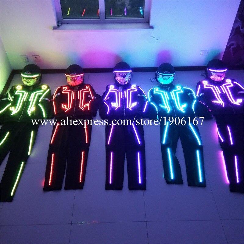 Wholesale 5 Set LED Robot Costume LED Dance Stage Performance Luminous Clothing Suits For Men Women DJ Show Led Light Clothing