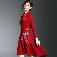 2017 Brand Designer Women S Elegant Long Sleeve Bird Floral Embroidery Vintage Dress Sexy V Neck