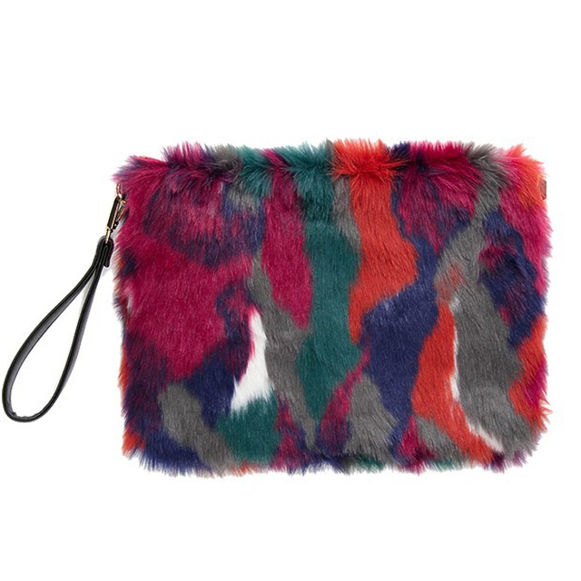 Women Handbags Colorful Fox Fur Day Clutch Bags Party Purse Leather Clutch Evening Bag