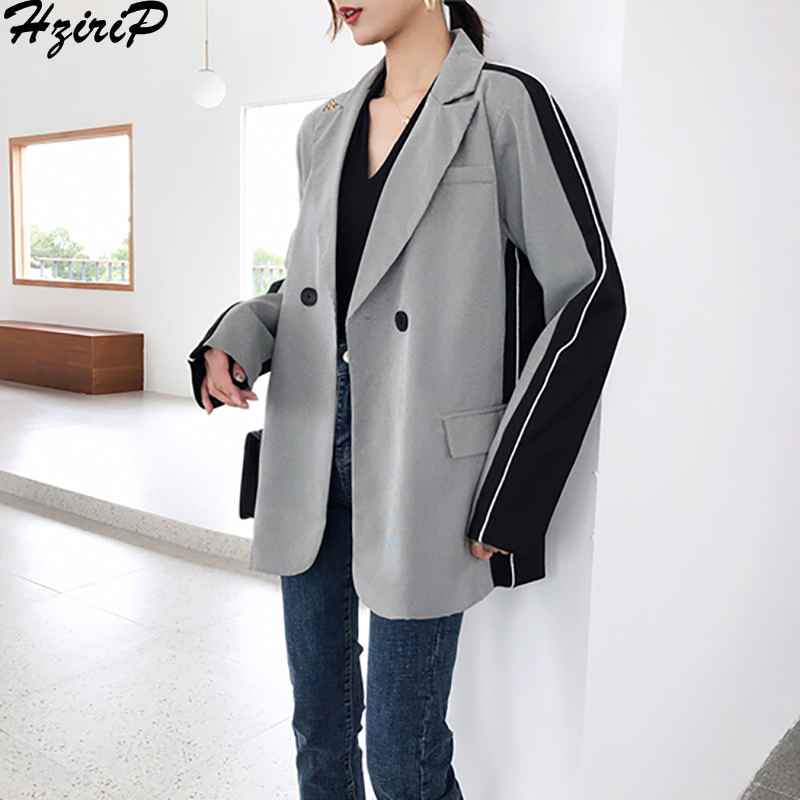 Hzirip Korean 2019 Women's Thin Blazer Long Sleeve Spring Casual Coat Loose Patchwork Slim Wild Tops Suit Female Jackets New