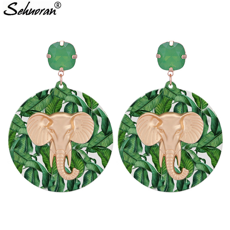 Sehuoran Round Resin Drop Earrings For Woman With Mat Gold Zinc Alloy Pendients Elephant Big Earrings Fashion Jewelry GiftsSehuoran Round Resin Drop Earrings For Woman With Mat Gold Zinc Alloy Pendients Elephant Big Earrings Fashion Jewelry Gifts