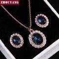 Высочайшее Качество ZYS112 Позолоченный Голубой Австрийский хрусталь Комплект Ювелирных Изделий С 2 Шт. 1 Ожерелье + 1 Серьги