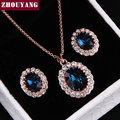 Top Quality ZYS112  Gold Plated Blue Austrian Crystal Jewelry Set  With 2 Pcs 1 Necklace + 1 Earring