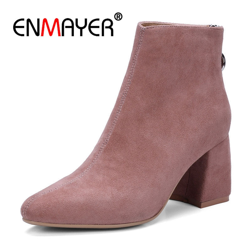 ENMAYER Suede Women Ankle Boots Fashion Size 34-39 Autumn Winter Casual Square Toe Thick High Heels Shoes women Zipper CR515 fashion embroided design spring winter casual women shoes zipper round toe square high heels women ankle booties free shipping