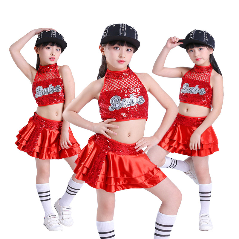 Kids Jazz Dance Costume Red Hip Hop Dance Costumes Cheerleader Costume Girl Or Boy Dance Wear Stage Dance Costumes For Child
