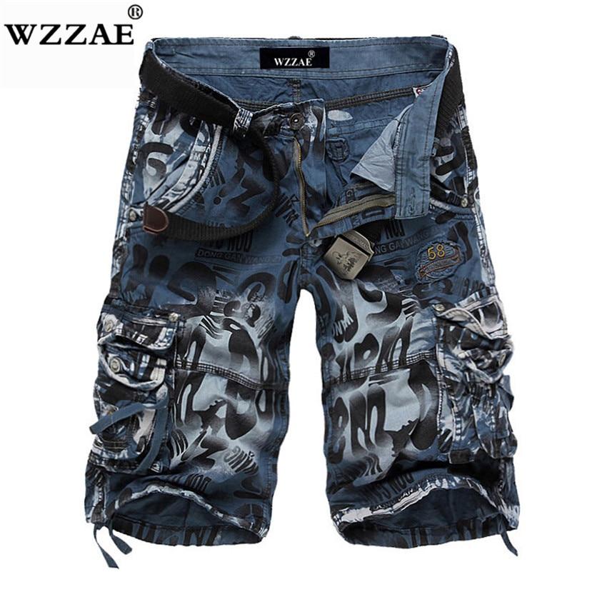 Wzzae 2018 novo design dos homens de verão camuflagem militar carga shorts bermuda masculino jeans moda masculina casual baggy denim shorts