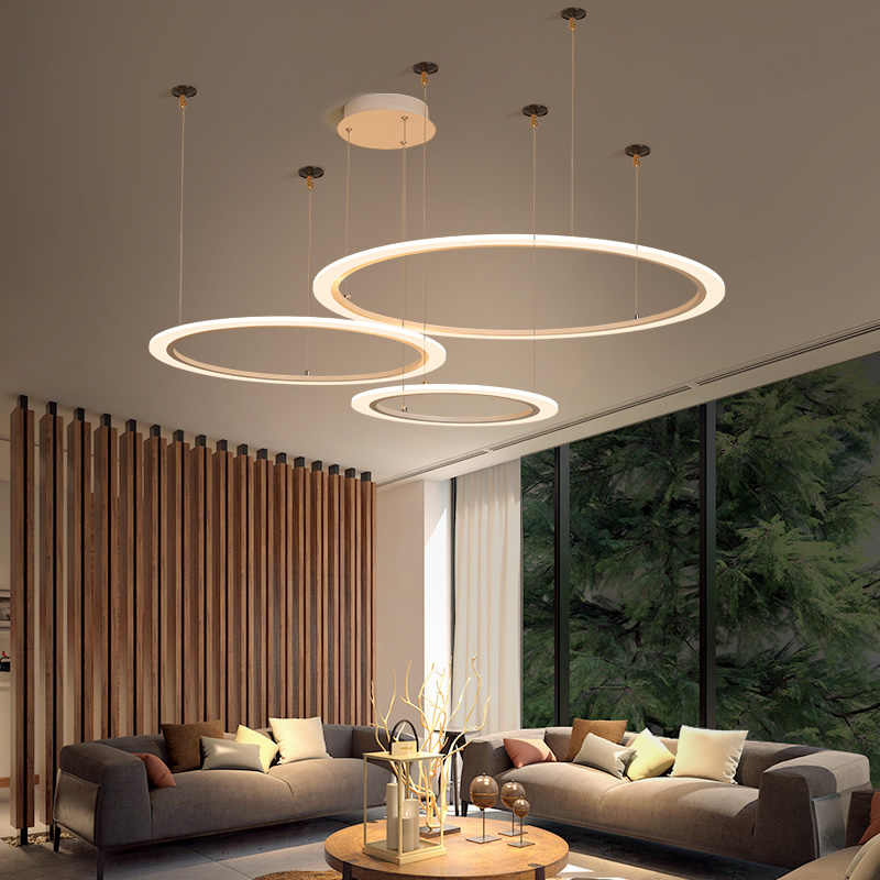 Modern Living Room Chandelier Ligting  Acrylic Circle LED Pendant lamp  Hall Chandelier For Dinning Room Decor Suspension Lights